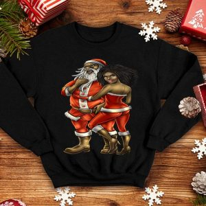 Beautiful African American Santa & Mrs Claus Couple Holiday Christmas sweater