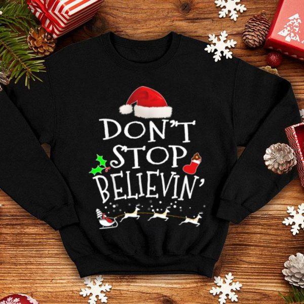 Beautiful Christmas Santa Don't Stop Believing sweater