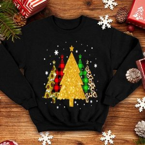 Beautiful Christmas Tree Green Red Plaid Leopard Sunflower Pajama sweater
