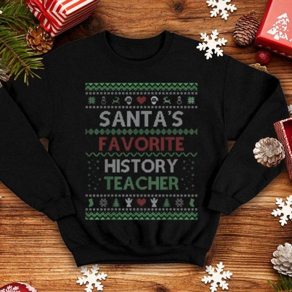 Beautiful Santa's Favorite History Teacher Ugly Sweater Christmas Gift sweater