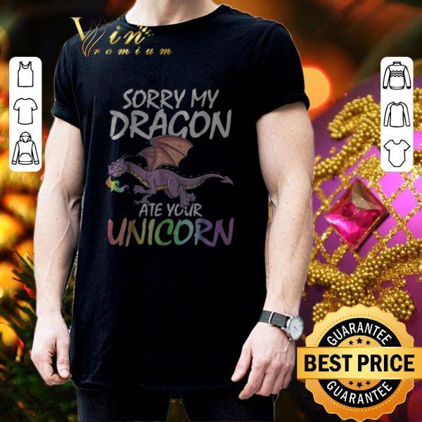 Cheap Sorry my dragon ate your unicorn LGBT shirt