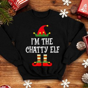 Official I'm The Chatty Elf Matching Family Group Christmas sweater