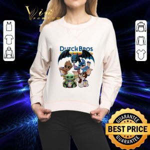 Premium Dutch Bros Coffee Baby Yoda Groot Stitch Toothless and Gizmo shirt