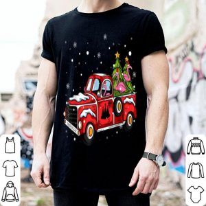 Premium Flamingo Ride Red Truck Pick Up Christmas Tree Vintage Retro sweater