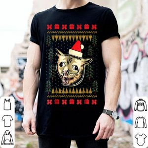 Premium Ugly Christmas Sweater Coughing Cat Meme sweater