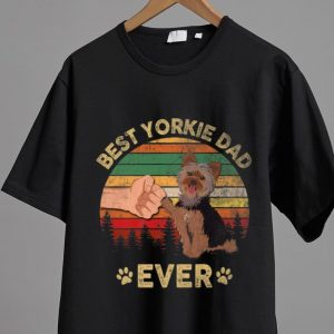 Awesome Best Yorkie Dad Ever Dog Lover Vintage Father's Day shirt