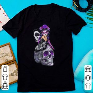 Purple butterfly girl Sugar Skull shirt
