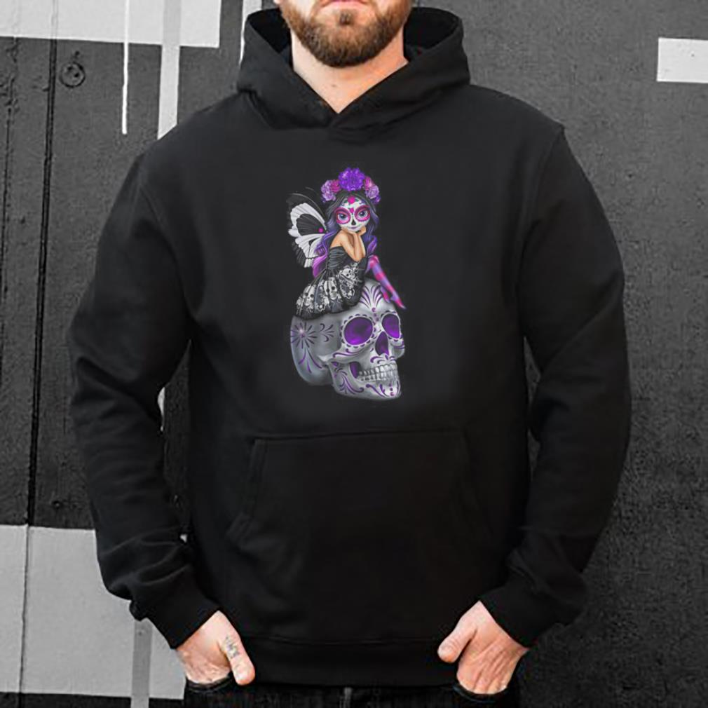 Purple butterfly girl Sugar Skull shirt 4 - Purple butterfly girl Sugar Skull shirt
