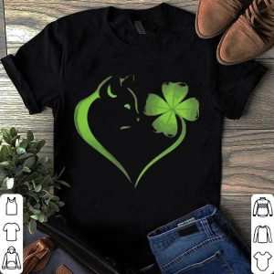 Cat Irish Four leaf clover heart shirt