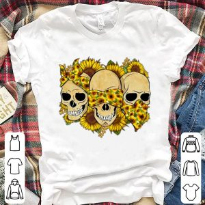 Skulls sunflower floral flowers shirt