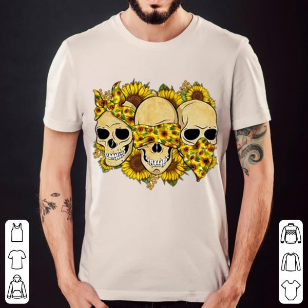 Skulls sunflower floral flowers shirt