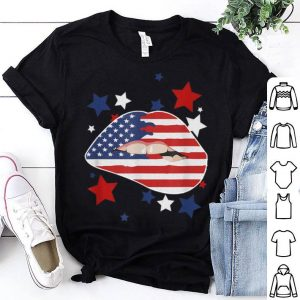 4th of July Sexy Lips Patriotic American Flag Stars shirt