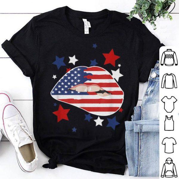 4th of July Sexy Lips Patriotic American Flag Stars shirt