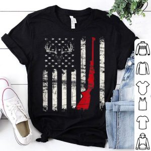 American Flag Deer Hunter Skull Rifle Gift  Shirt