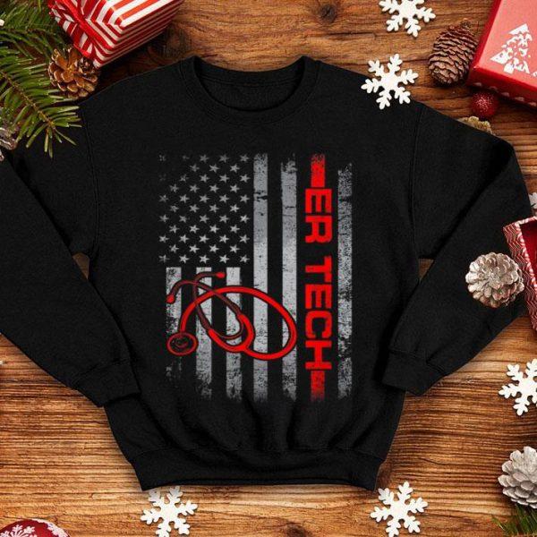 American Flag Er Tech Patriotic Nurse 4th Of July Shirt