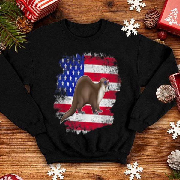 American Flag Otter Animal Lover Vintage USA shirt