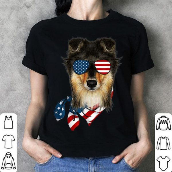 American Flag Sheltie Patriotic 4th Of July Shirt