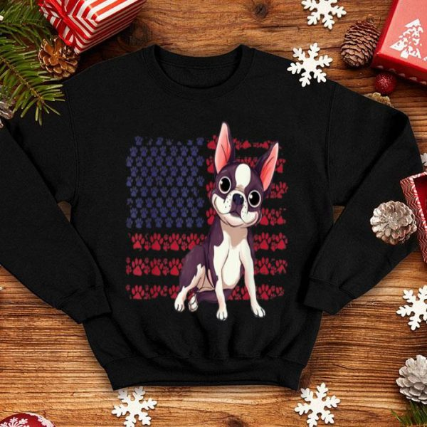 Boston Terrier Dog Paw American Flag 4th Of July shirt