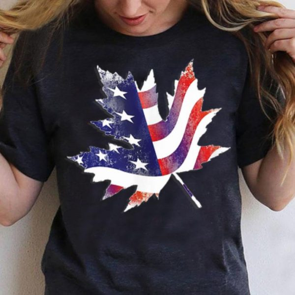 Canadian Maple Leaf American Flag Canada USA Flags shirt