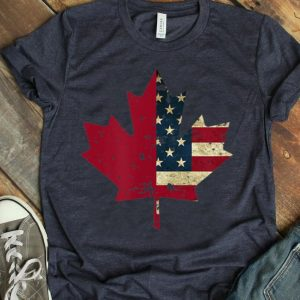 Distressed Canada And U.s Flag In A Maple Leaf Shirt