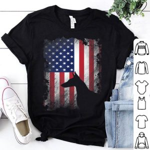 Doberman Pinscher American Flag Usa Patriotic Dog Shirt