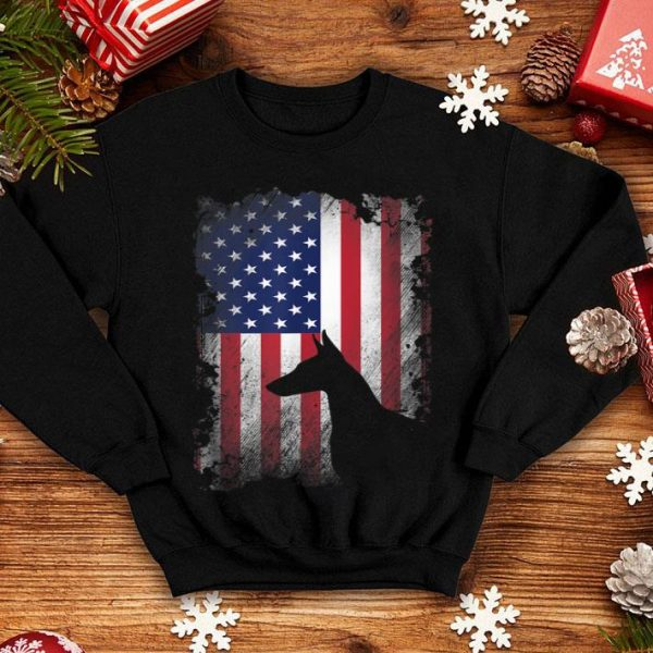 Doberman Pinscher American Flag Usa Patriotic Dog Shirt