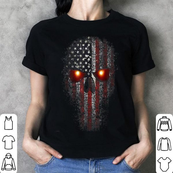 Epic Usa Military American Skull Flag Patriot Glowing Eyes shirt
