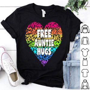 Free Auntie Hugss Rainbow Heart LGBT Pride Month Shirt