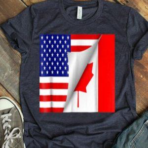 Half Canadian Half American Flag shirt