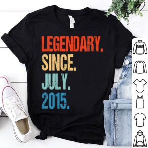 Kids 4th Birthday Vintage Lendary Since JULY 2015 T shirt