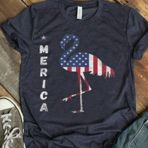Merica Flamingo Flamerica American Flag 4th Of July shirt