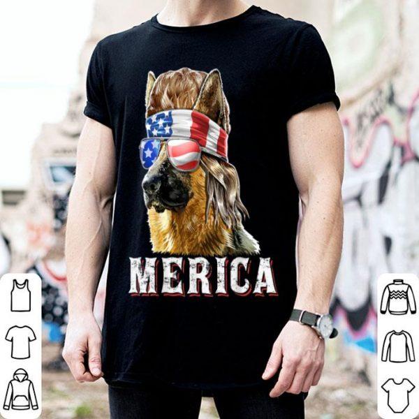 Merica German Shepherd Mullet July 4th American Flag Shirt