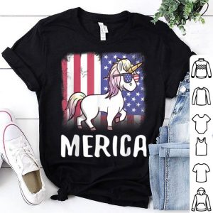 Merica Unicorn Patriotic USA Flag 4th Of July American shirt