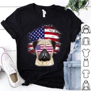 Patriotic American Flag Pug shirt