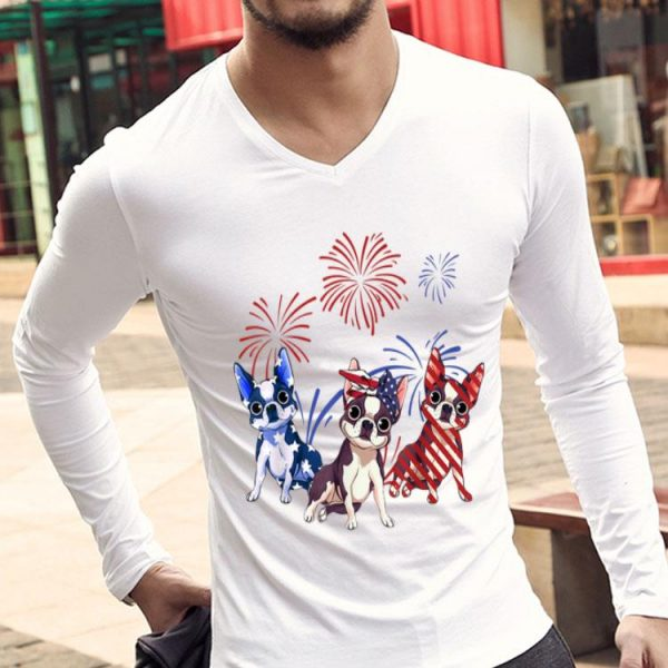 Red White Blue Boston Terrier USA Flag 4th Of July shirt