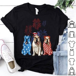 Red White Blue Bulldog USA Flag Firework 4th Of July shirt