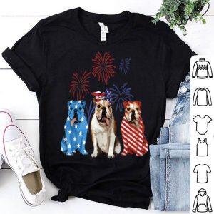 Red White Blue Bulldog USA Flag Firework 4th Of July shirt