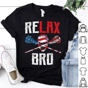 Relax Bro Lacrosse American Flag Lax Lacrosse Player shirt