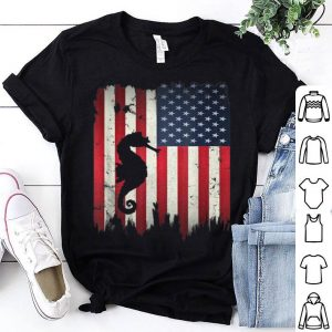 Seahorse USA American Flag 4th of July Patriotic Shirt