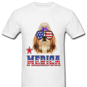 Shih Tzu Merica 4th Of July Patriotic Dogs Glasses Shirt