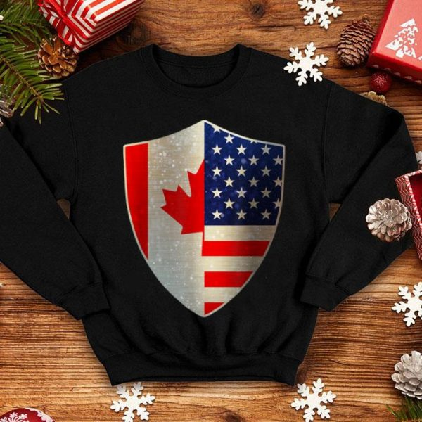 USA Canada Flag Shield - Canadian American Pride shirt