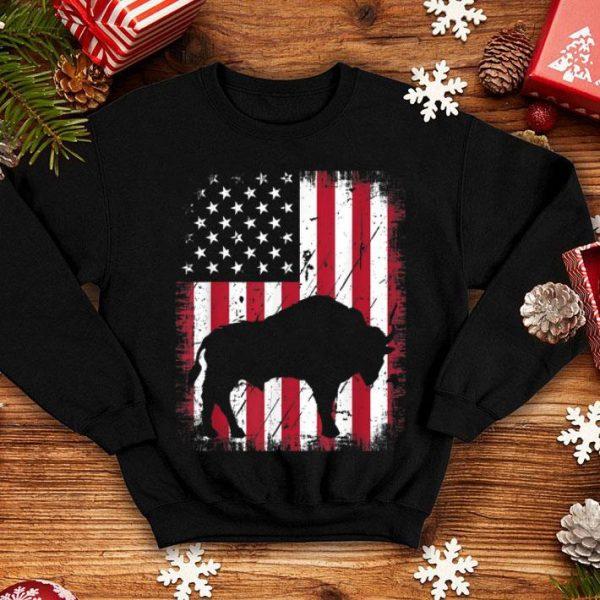 Vintage Bison USA American Flag 4th Of July Patriotic shirt