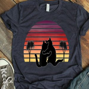 Vintage Cat Hug Sunset Palm Trees shirt