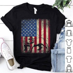 Vintage English Bulldog American Usa Flag Dog Shirt