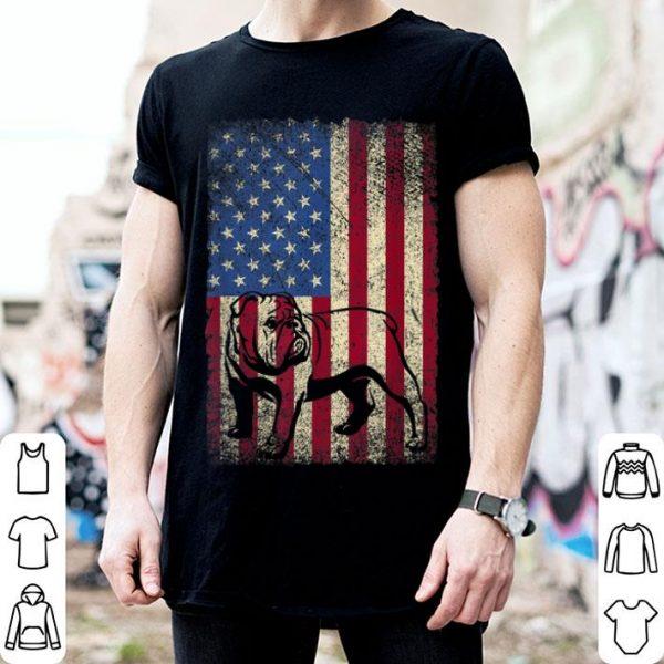 Vintage English Bulldog American Usa Flag Dog Shirt
