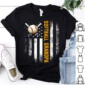 Vintage Softball Grandpa American Flag Fathers Day shirt