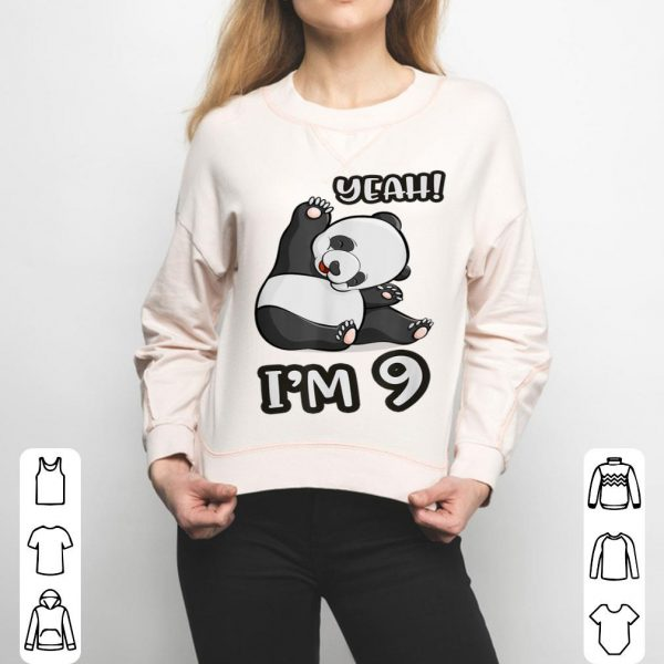 9th Birthday Cute Panda Yeah Im 9 Years Old Girl Gif shirt