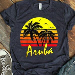 Aruba 80S Tropical Summer Beach Palm Tree Sunset shirt