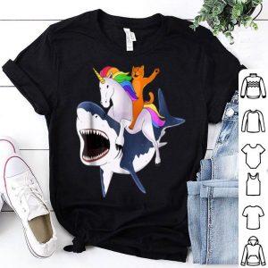 Cat Riding Unicorn Riding Shark shirt