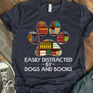 Easily Distracted By Dogs And Books Paw 70S 80S Retro Premium shirt